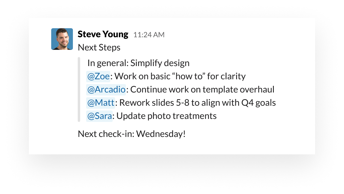 """Slack UI showing how to use the """"at"""" mention to organize tasks and owners"""