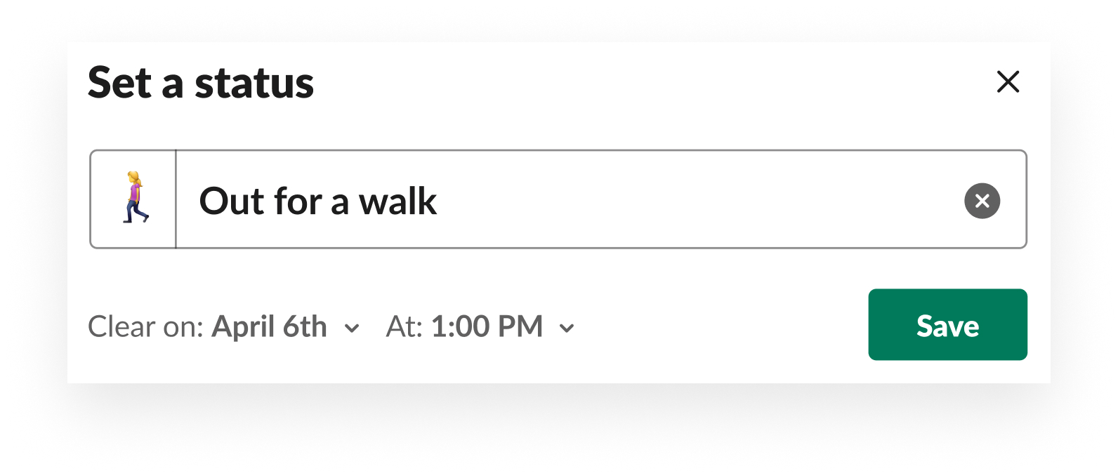 Example of how to set your status in Slack