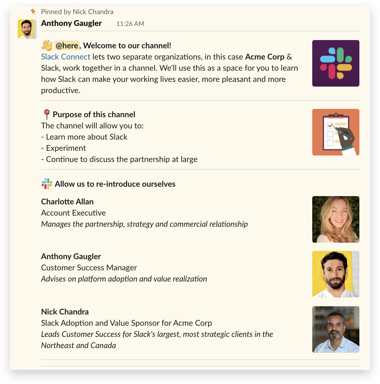 A Slack Connect message built with Block Kit