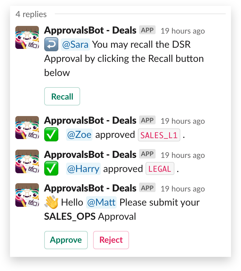 An automated approval thread in Slack