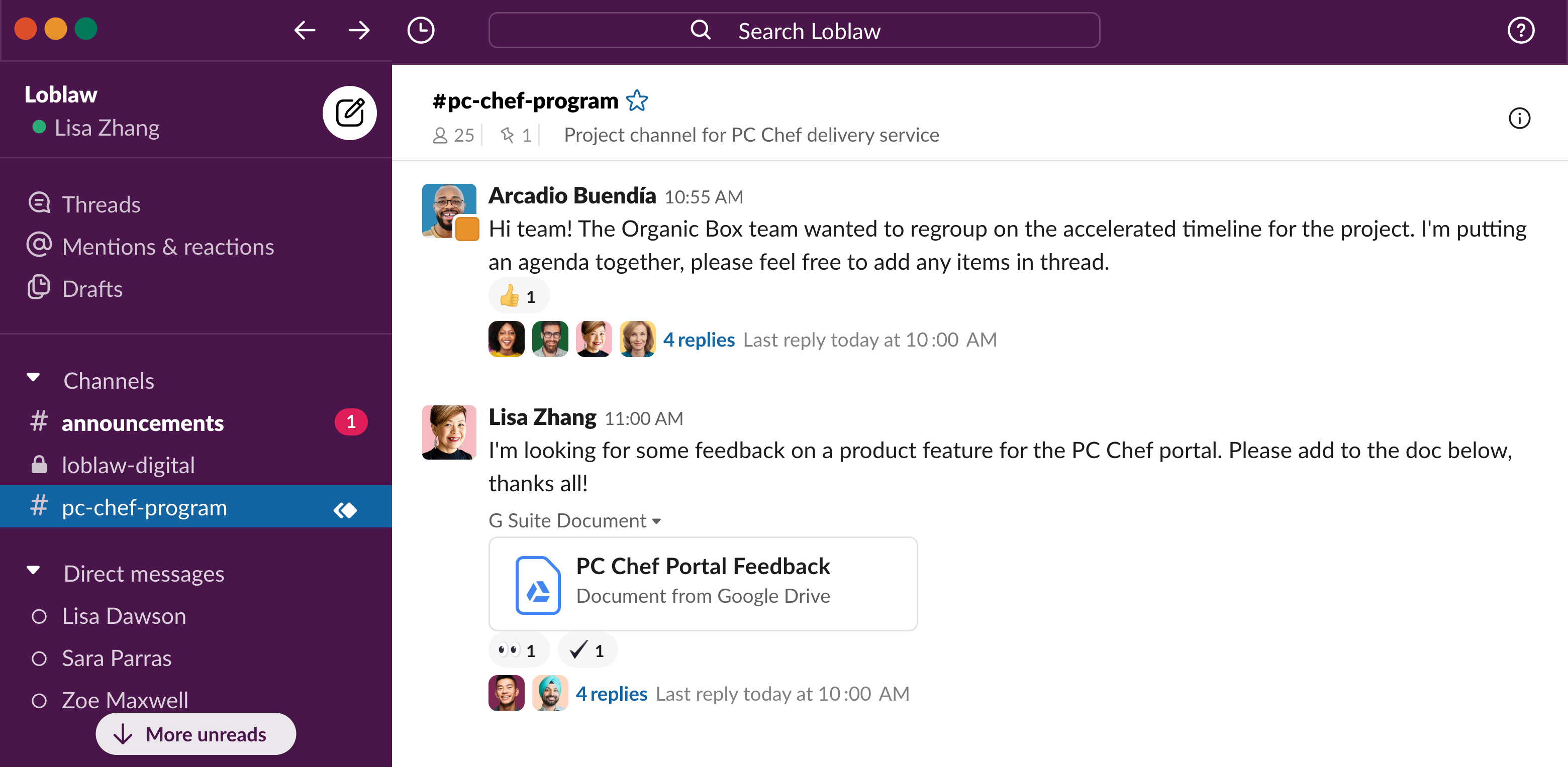 PC chef slack connect ui