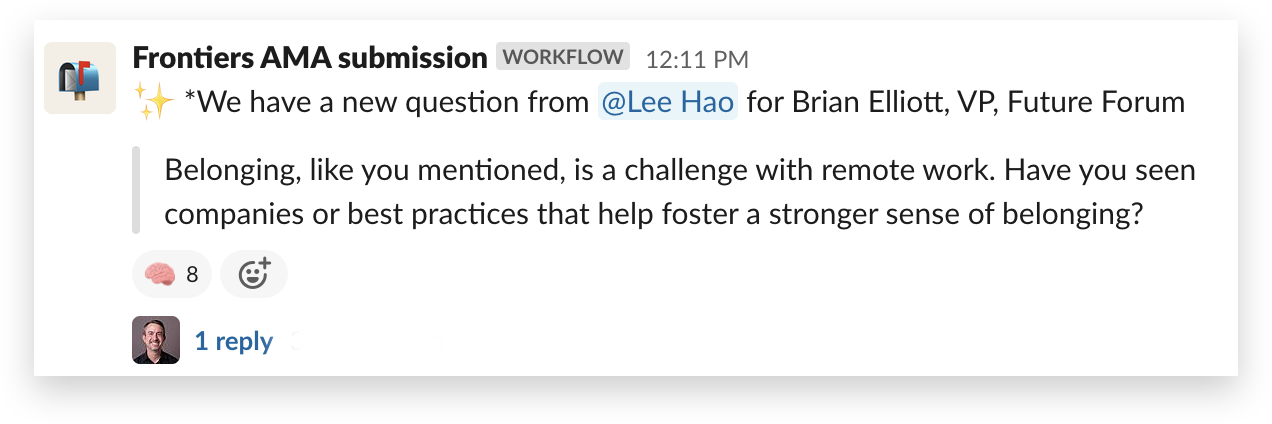 An AMA workflow in the Slack Frontiers workspace