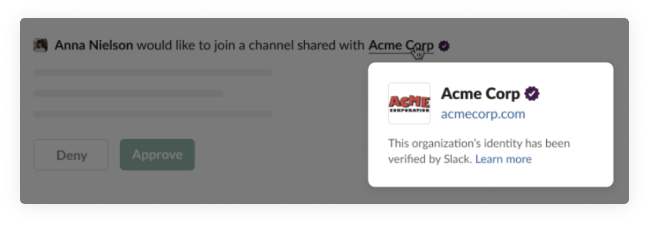 Slack verification for shared channel with outside org