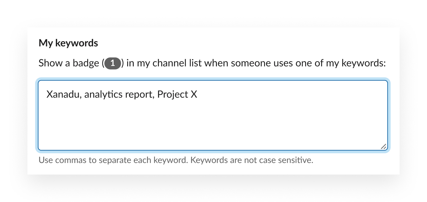 Keyword examples: Xanadu, analytics report, Project X