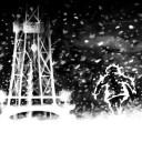 working on a snowy night