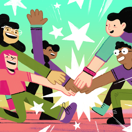 Illustration of a group of people putting their hands together.