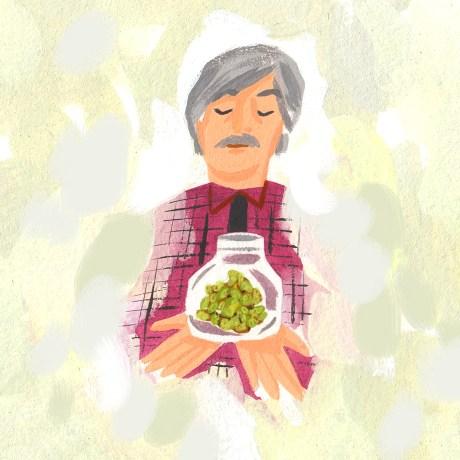 A man holding a jar.