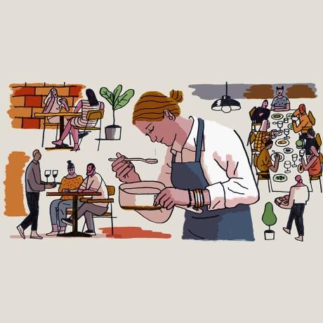 Illustration of chef Karen Keygnaert cooking in a kitchen