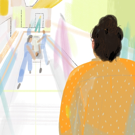 Illustration of woman walking down a hospital hallway