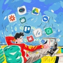 Colorful illustration of a man sitting in an office chair with app icons in the air signifying productivity