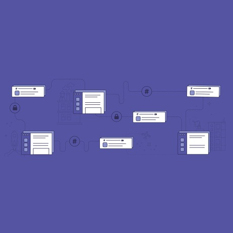 Illustration with Slack UI imagery and gears with a purple background