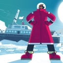 Illustration of a woman in a winter coat standing proudly in front of a ship
