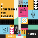 Colorful illustration with multiple icons for Slack's developer conference Spec