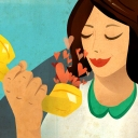 An illustration of a woman holding a phone showing compassion for the person on the other line
