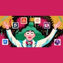 Illustration of woman with green hair with app icons floating in front of her