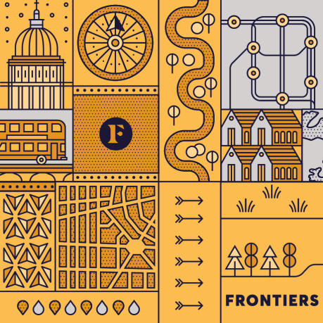 Illustration with different symbols of a city for Slack's Frontiers conference