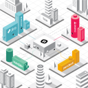 Illustration of colored buildings signifying a collaboration hub