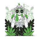 Illustration of man in safari suit with binoculars