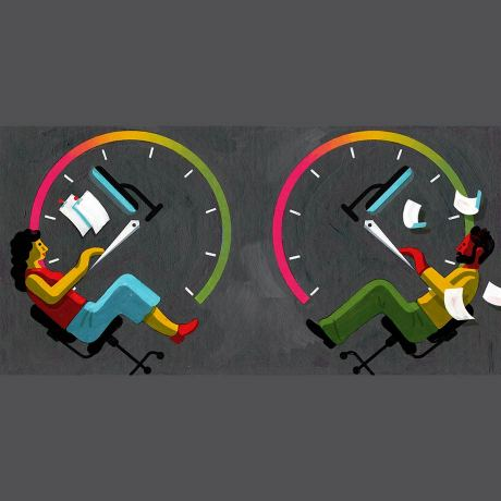 Illustration with two people sitting inside a rotated clock
