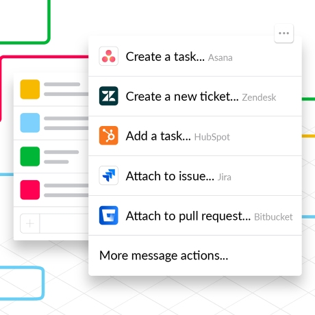 Illustration showing how to create an action in Slack