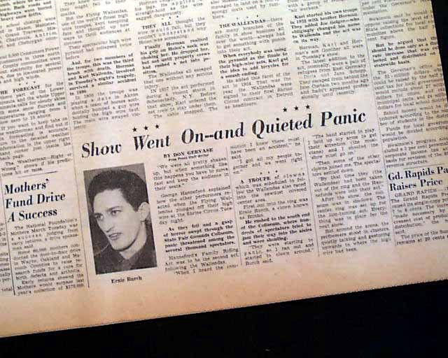 "newspaper article ""show went on- and quieted public"""