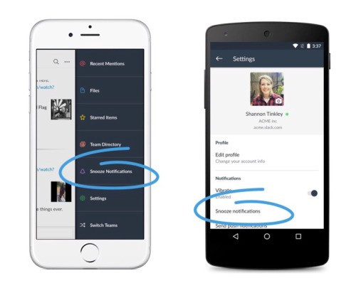snooze on mobile devices