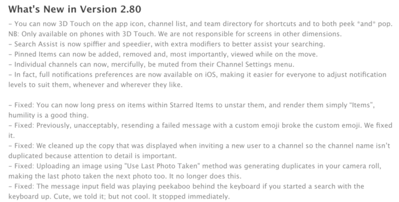 iOS release notes