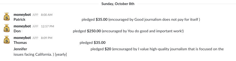 record of donations