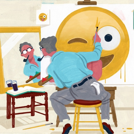May newsletter illustration where a man is painting an emoji on canvas looking in the mirror