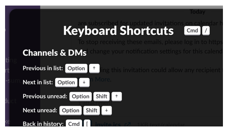 keyboard shortcut list
