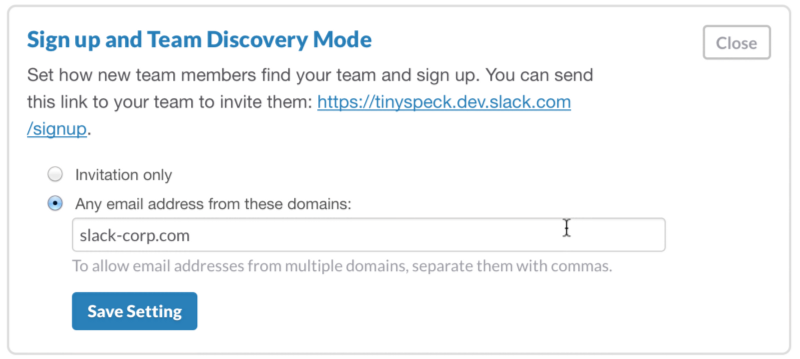sign up and team discovery