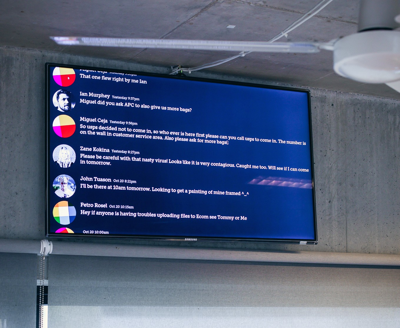 slack feed on a monitor