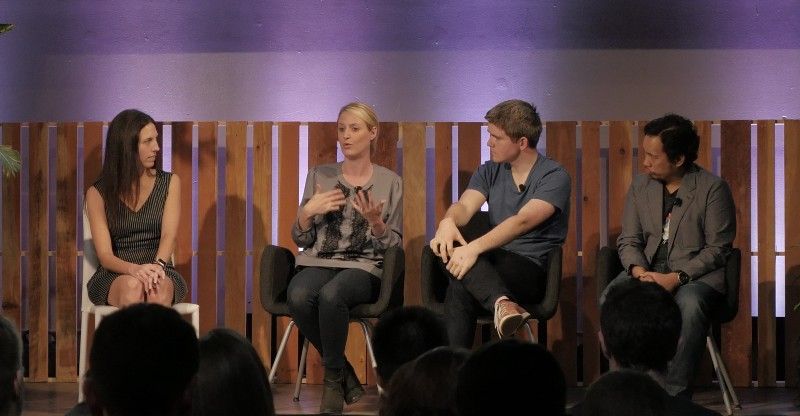 Slack's Director of Customer Experience Ali Rayl with Cara Brennan Allamano, John Collison, and Jay Carina.