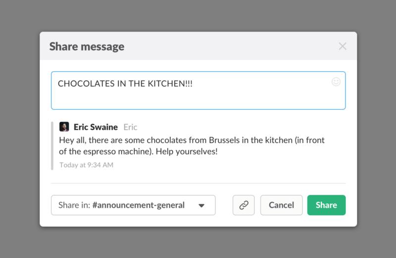 share message pop-up