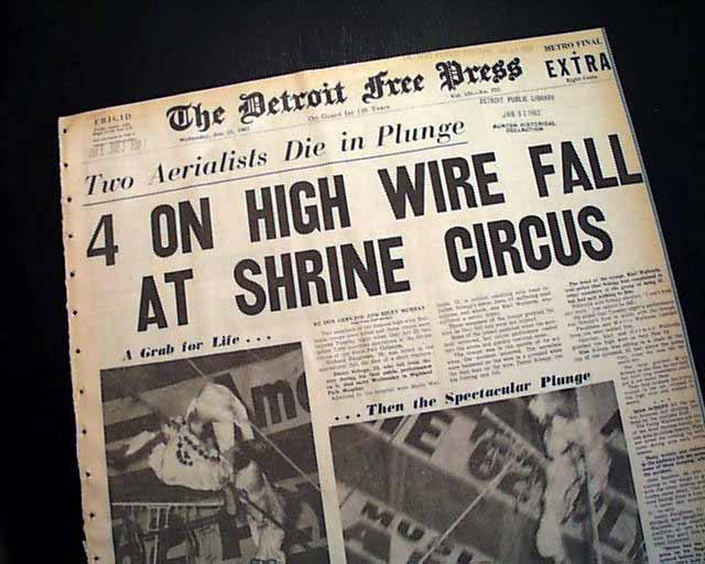 "newspaper with headline ""4 on high wire fall"""