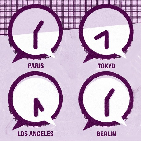 Four clocks representing international time zones