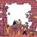 Marketing collaboration illustration where people are breaking down a brick wall