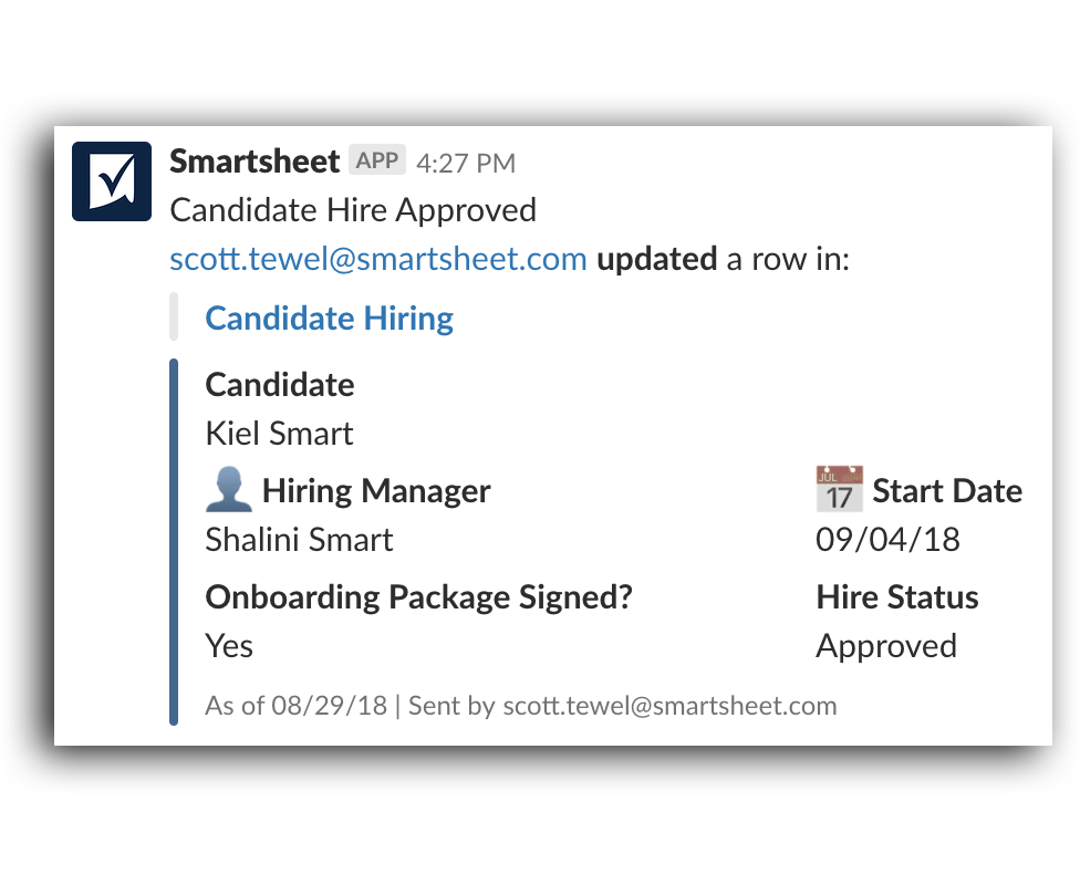Smartsheet Notification screensho
