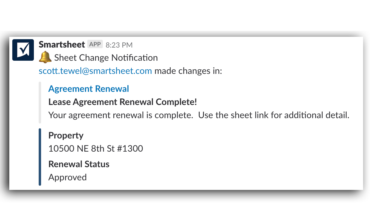 Smartsheet notification