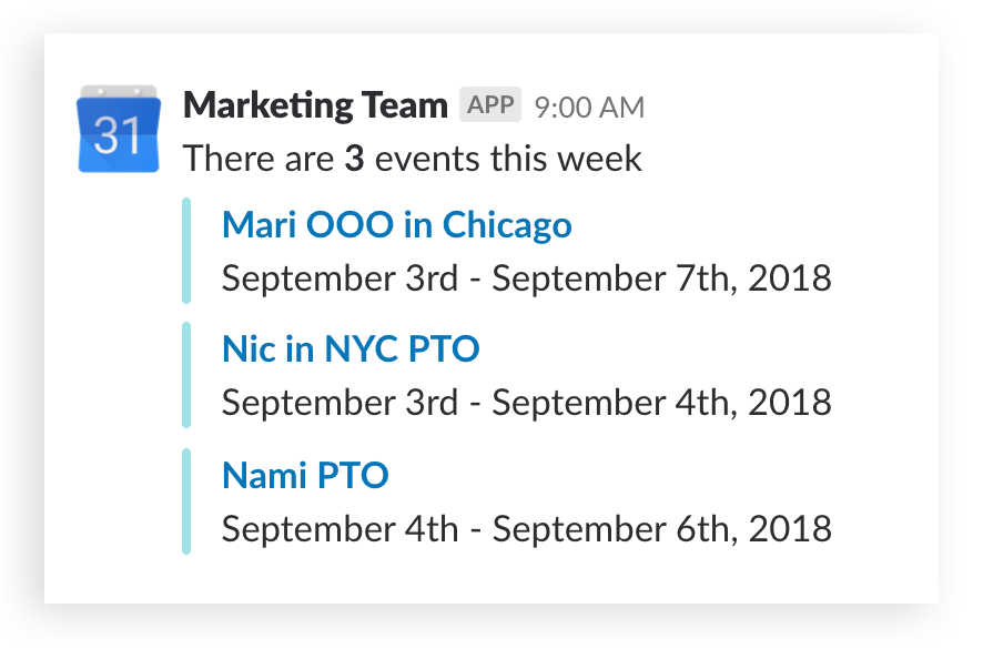 Slack screenshot showing a Google Calendar update listing events
