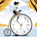 Woman on a victorian-style bicycle with a clock for a wheel, depicting the timeless time management advice you'll find in this article about how to boost your personal productivity at work, with tips from Slack's VP of People Robby Kwok