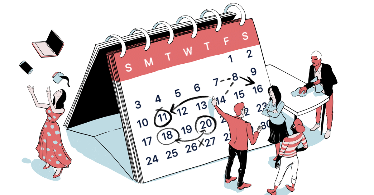 An illustration of a group of people marking up a larger-than-life calendar, in preparation for the coming workweek.