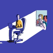 Illustration of man sitting alone with his coworkers looking at him from a window
