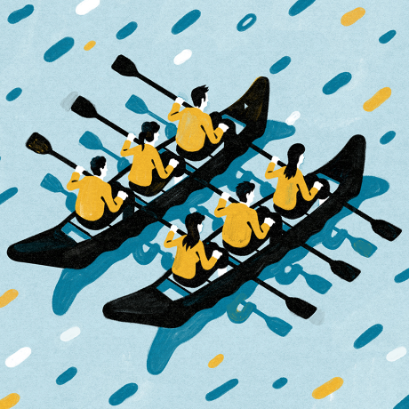 An illustration of men and rowing together as a team