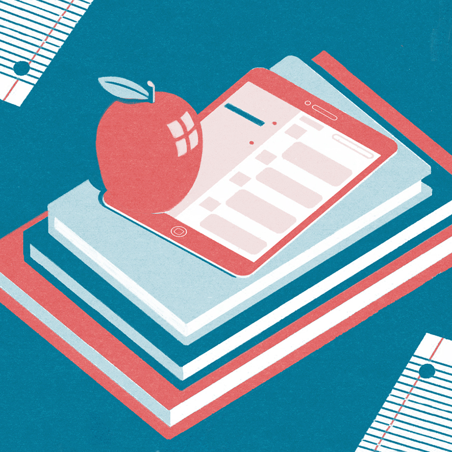 A pike of books, iPad with Slack open, and an apple