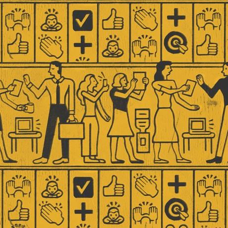 An illustration using Egyptian hieroglyphic style to discuss emojis