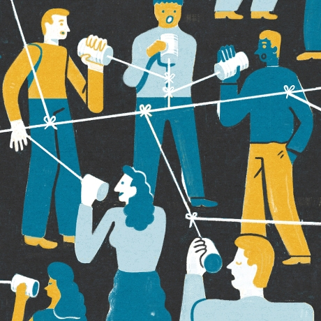 An illustration of a group of people speaking through cans tied with string