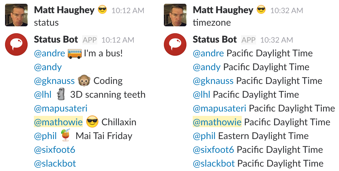 Two examples of how to use Slack status bot