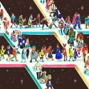 An illustration with people from all over the world walking on the Slack logo