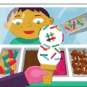 A boy customizing an ice cream order